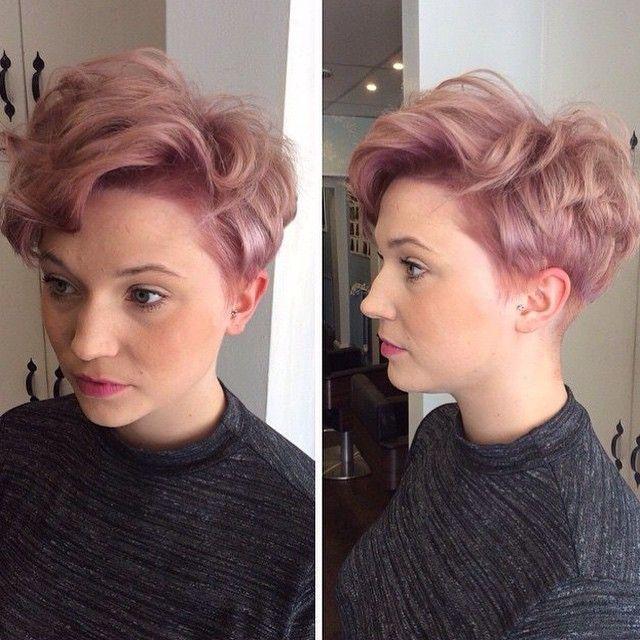 short pastel pink pixie haircut