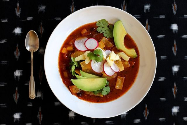 Spicy Vegetarian Tortilla Soup - Used Goya 16 bean 1 1/2 cups instead of black beans, 28 oz fire roasted tomatoes and 1 cup veg broth. Sauteed onion and jalepeno pepper and added to bean mixture. The spice mixture is spot on - makes a great veg chill added 1/4 cup of ww couscous to each serving. Excellent with addition of fresh cilantro. Favorite meal right now - filling.