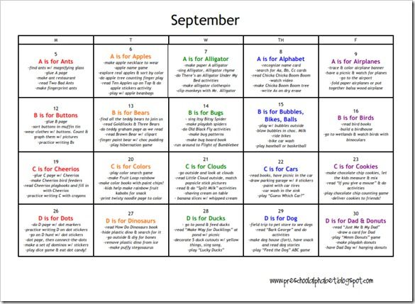 Printable calendars: a calendar for each month with activities for letter of the week.
