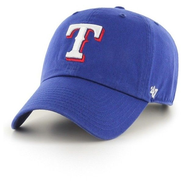 Women's '47 Clean Up Texas Rangers Baseball Cap ($25) ❤ liked on Polyvore featuring accessories, hats, blue, blue hat, blue ball cap, texas rangers baseball cap, baseball caps hats and ball cap hats