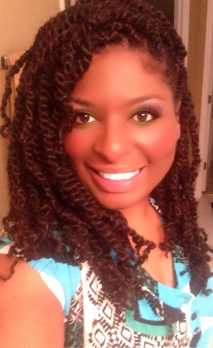 Puffy Afro twist on natural hair using Nafy Afro Puffy twist hair.