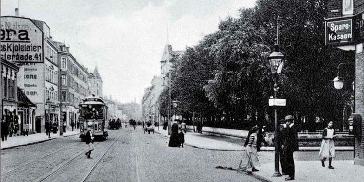 Amagerbrogade med Frankrigsgade til højre i 1910