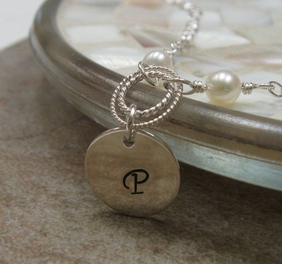 Silver initial bracelet freshwater pearls by CallaJewelry on Etsy, $24.00