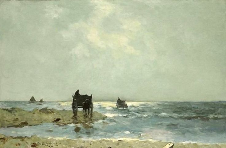 J.H. WEISSENBRUCH (1824-1903, Dutch painter): Beach at Scheveningen with Shell Fishers, 1891