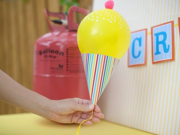 ice cream cone balloon - party hat, straw and balloon