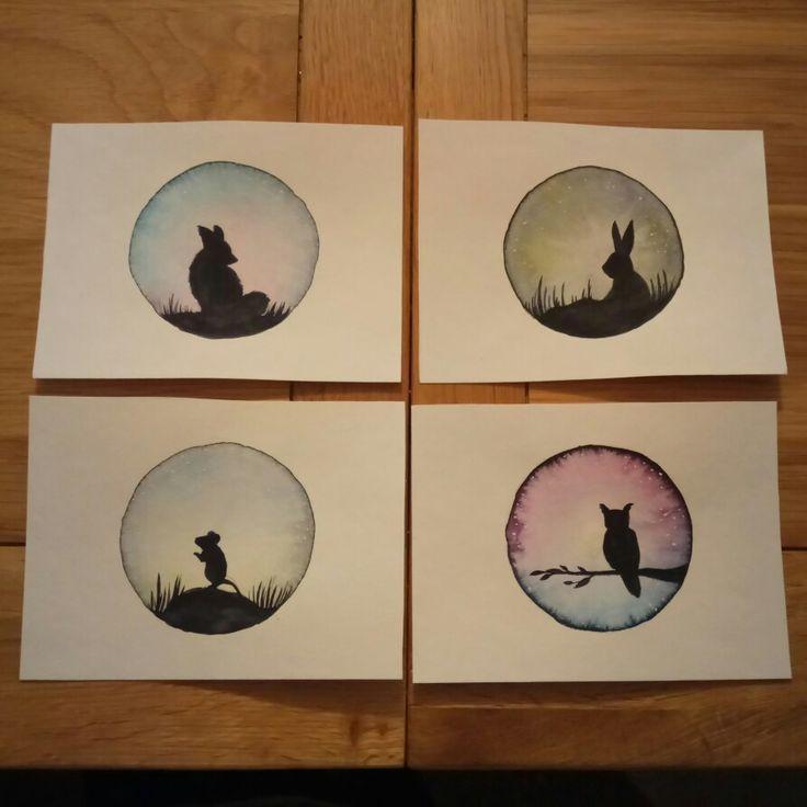 #watercolor #nocturnalanimals #fox #rabbit #mouse #owl #irenetorcalilustracion #night #light #stars #acuarela #animalesnocturnos #zorro #conejo #raton #buho #noche #luz #estrellas