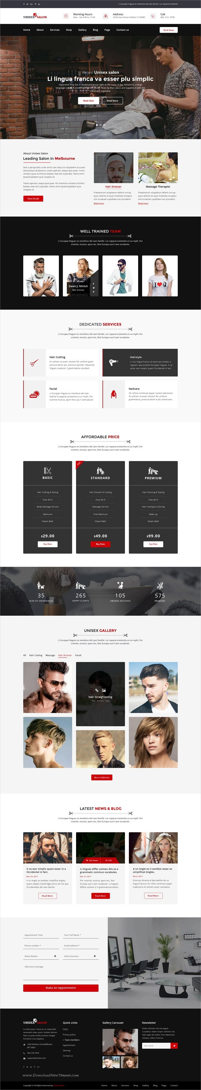 Unisex is clean and modern design #Photoshop template for #barbershop, #hair spa and #beauty salons website with 3 homepage layouts and 27 layered PSD files download now➩ https://themeforest.net/item/unisex-salon-barber-shop-hair-spa-and-beauty-salon-psd-template/19797130?ref=Datasata