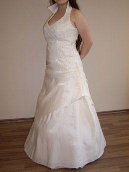 Neckholder Brautkleid mit Kragen aus Tagt und Spitze in A-Linie ... 389a78980f
