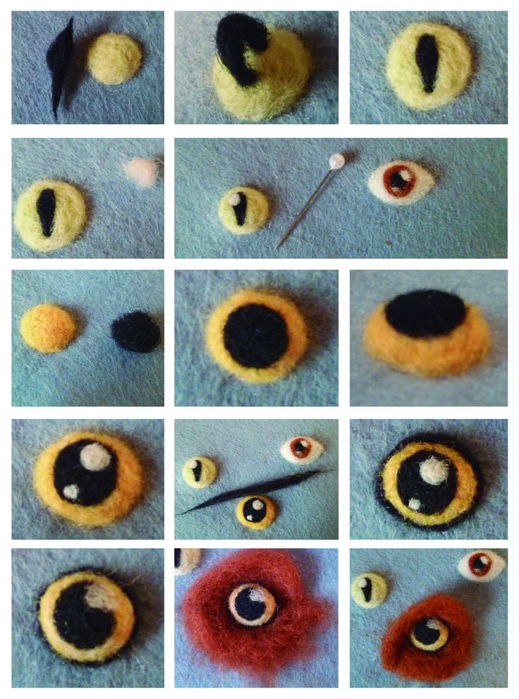 Tutorial Ojos Lana Afieltrada Persona - Gato - Búho Needle Felting Eyes Tutorial Person - Cat - Owl