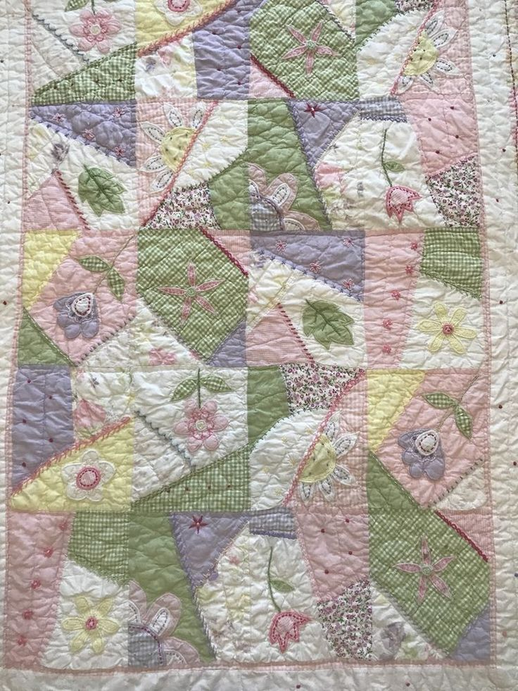 Pottery Barn Kids Crib Quilt Baby Blanket Pink Floral