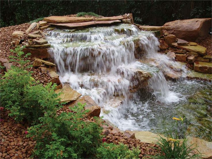 33 best outdoor water feature ideas images on pinterest for Pond waterfall spillway ideas