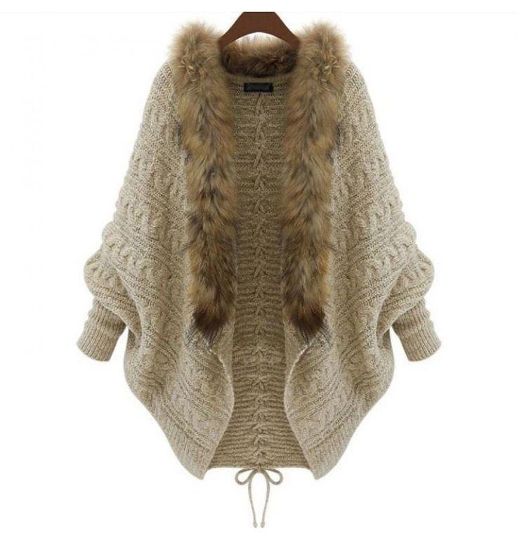 Damen Vintage Strick-Jacke mit Kunst Pelz Kragen