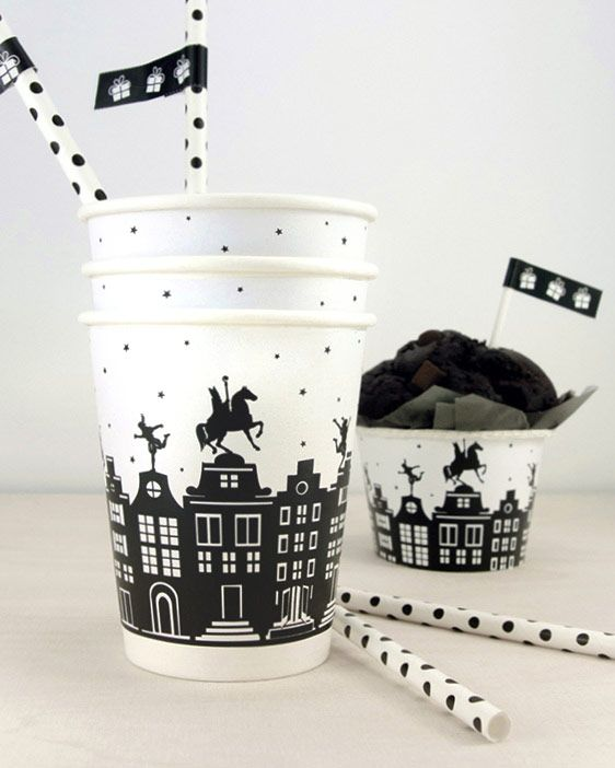 Sint Printable Cup Wrappers - Gratis sinterklaas printables van Printcandy - 5 december knutselen - Sint en Piet - Sinterklaas 2017