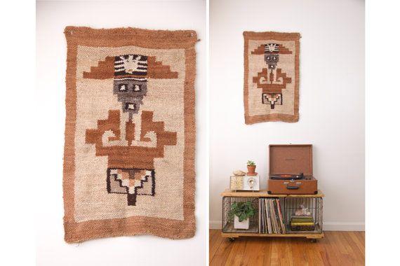Vintage gewebte Wolle tribal Wand hängend / large wolle Textil Hand gewebt Tapeten / Azteken Wand Kunst