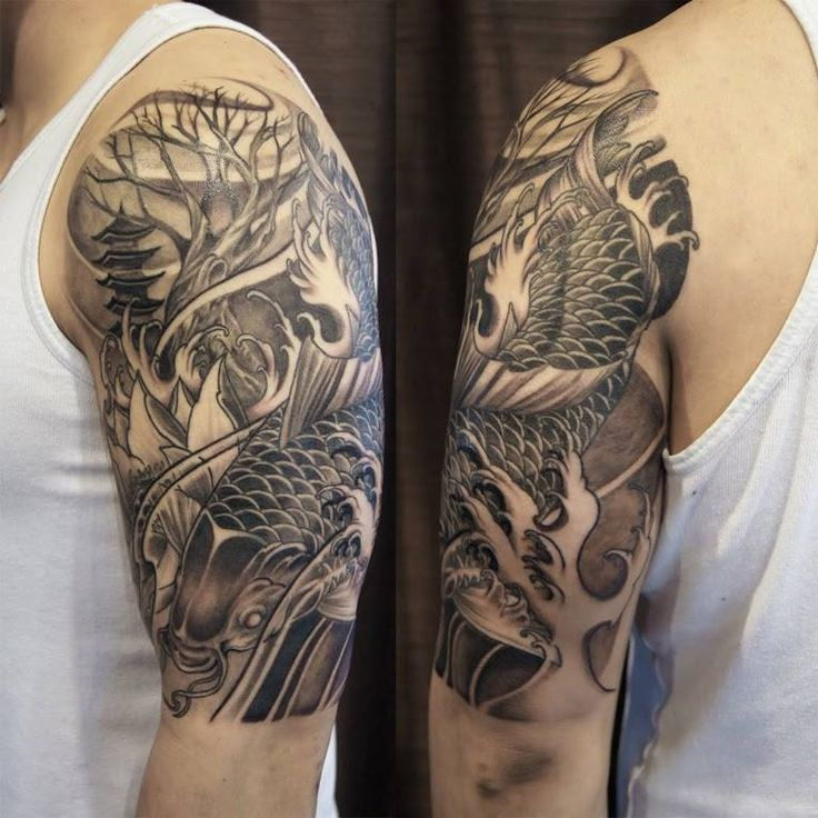 Black And Grey Koi Fish Sleeve Tattoos: Toronto Tattoo Koi Fish Half Sleeve