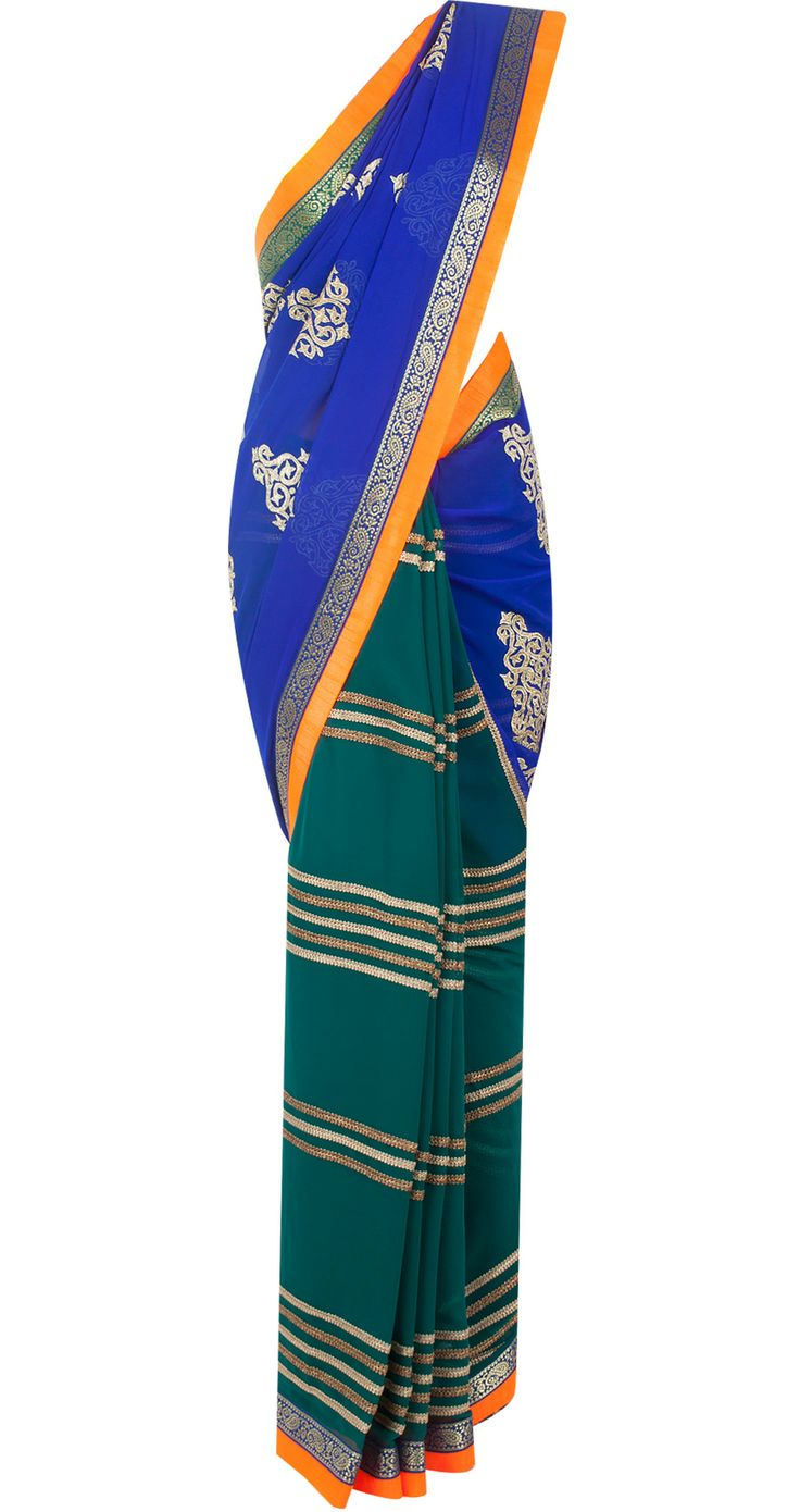 Electric blue and teal green patched sari available only at Pernia's Pop-Up Shop.