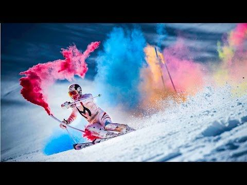 A skier took a run through paint-filled poles and the results were beautiful | So cool! Watch and share!