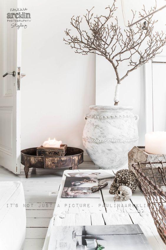 Sammle schöne Zweige in einer Vase