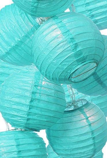 turquoise paper lanterns