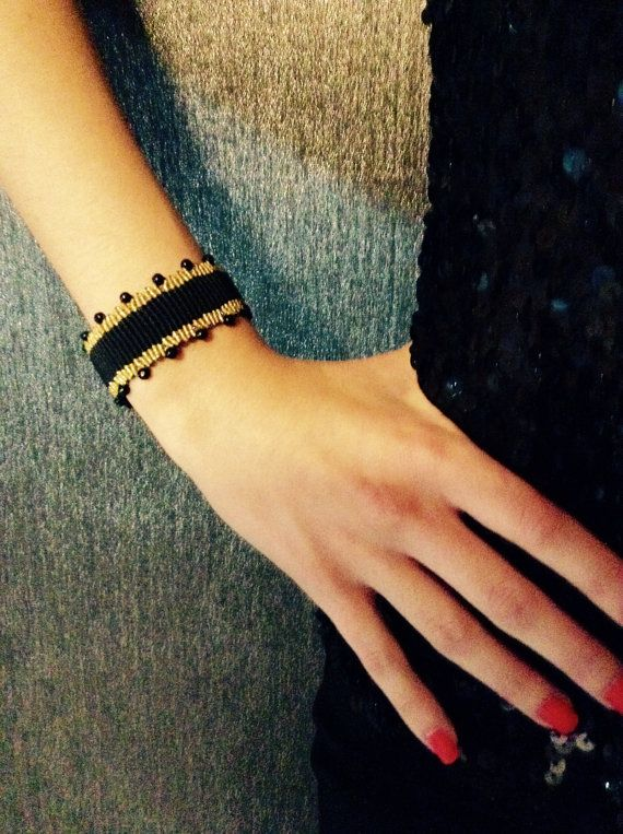 Black Macrame Bracelet in Black and Gold color with Agate Stones Glamorous Bracelet Classic Chic Jewelry Adjustable