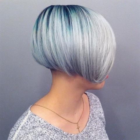 Turquoise Root to Silver Color Melt   Modern Salon