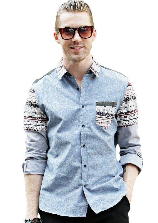 Doublju Mens Ethnic Pattern Point Dress Shirts #doublju