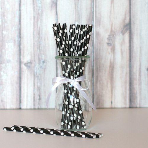 Paper Straws - Black with White Dots j'adore ce site !