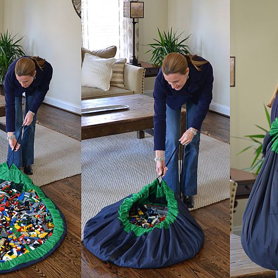 Lay-n-Go (patent pending) is a 5 foot diameter activity mat that converts into an easily transportable shoulder satchel allowing for quick and effortless clean-up of small toy pieces. Toy collections used on the Lay-n-Go surface are easily spread out (no dumping needed) for hours of fun. Once playtime is over, the drawstring is pulled and the activity mat is converted back into a completely sealed soft storage bag. Lay-n-Go Luggage is a smart and easy activity mat, cleanup, ...