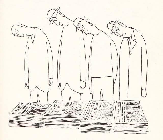Saul Steinberg. Veja também: http://semioticas1.blogspot.com.br/2011/10/humor-romeno.html                                                                                                                                                      Mais