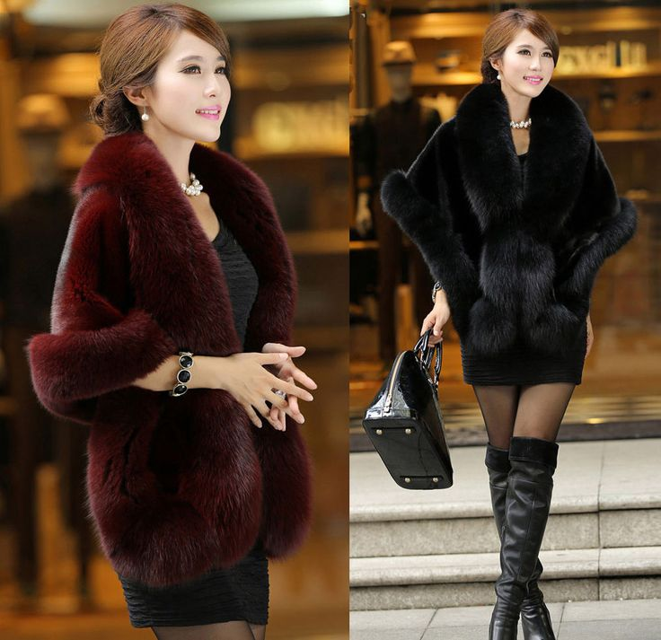 Hot Sale Fashion Sexy Women's Fur Short Shawl Coat Lady Cape Jacket 4 Color #Fashion #Shawl