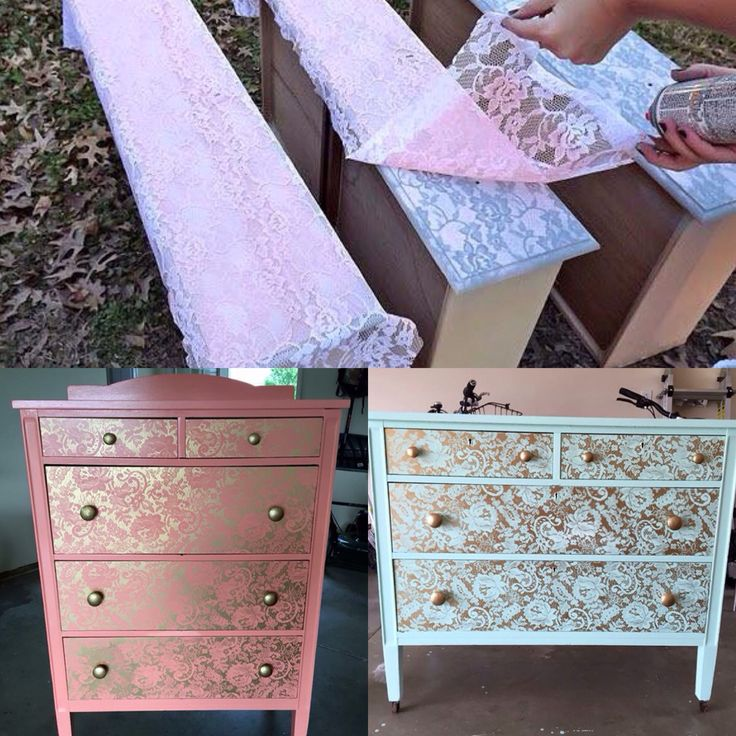 Lace painted furniture