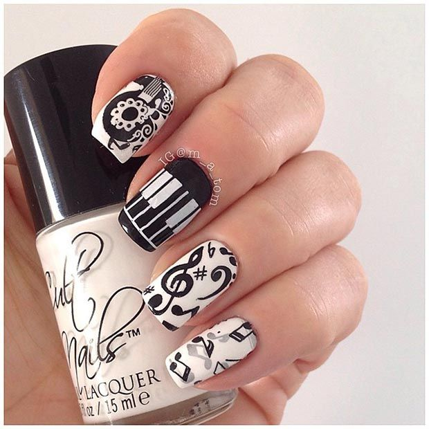 Black and White Music Nails