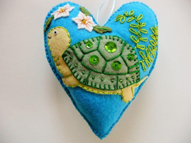 Turtle Felt Heart Ornament / Easter Ornament / Spring Decor / Doorknob Hanger / Felt Turtle / Nursery Decor / Nature Ornament by heartfeltwhimsy on Etsy https://www.etsy.com/listing/185752553/turtle-felt-heart-ornament-easter