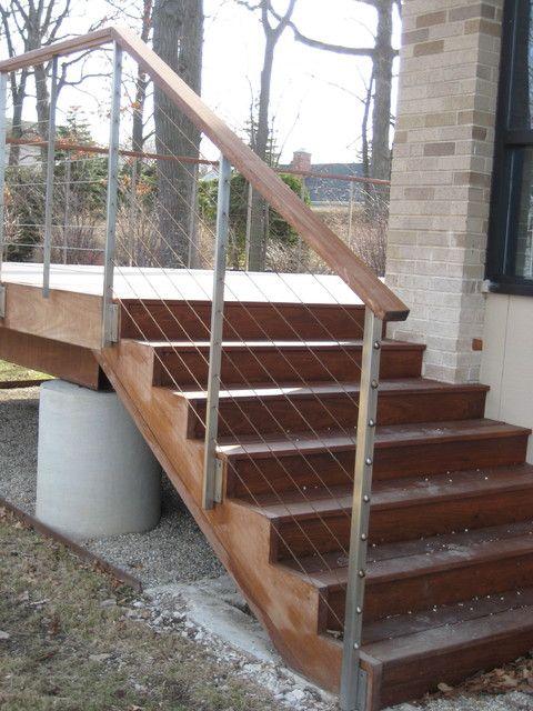 Best Wooden Stair Wood Rail Modern Railings And Raised Deck 640 x 480