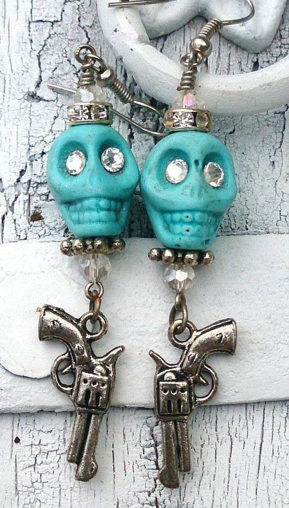 Turquoise Skull Pistol Day Of The Dead Earrings, Dia De Los Muertos   by Secret Stash Boutique, $9.00 On Sale