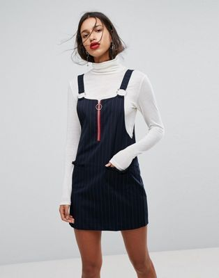 Mango Ring Pull Detail Pinafore Dress