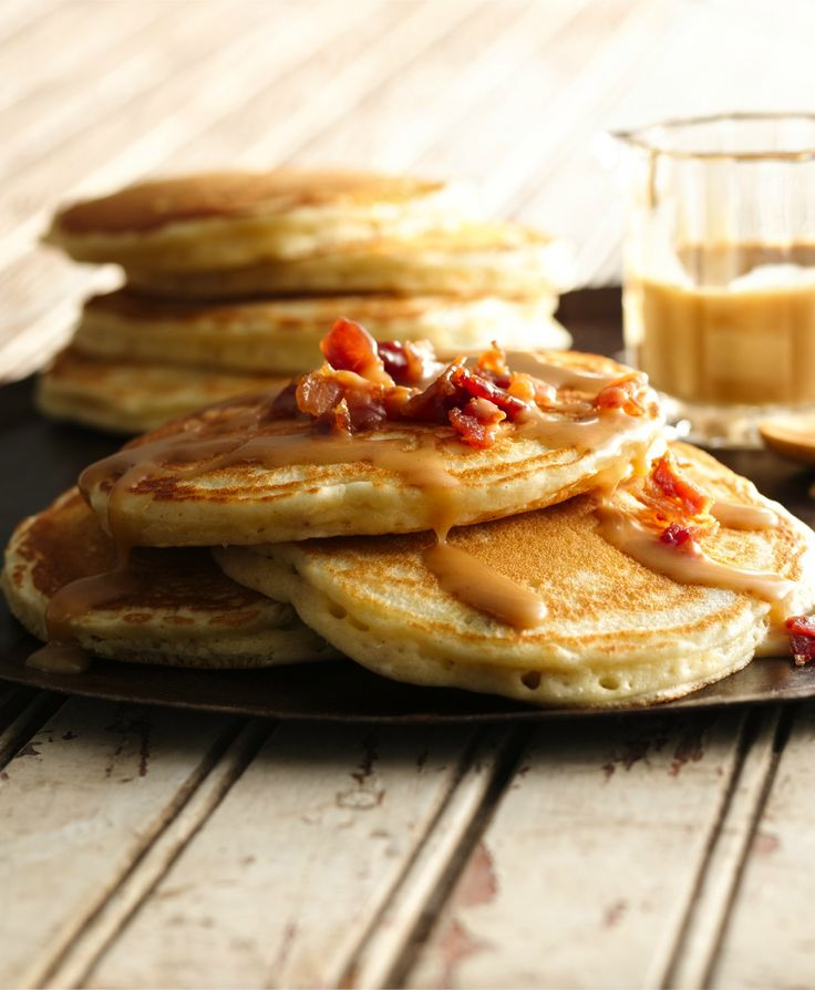 Breakfast ready in 35 minutes! Enjoy this hearty bacon pancake that's made using Bisquick® mix and served with maple and peanut butter syrup. Yum!