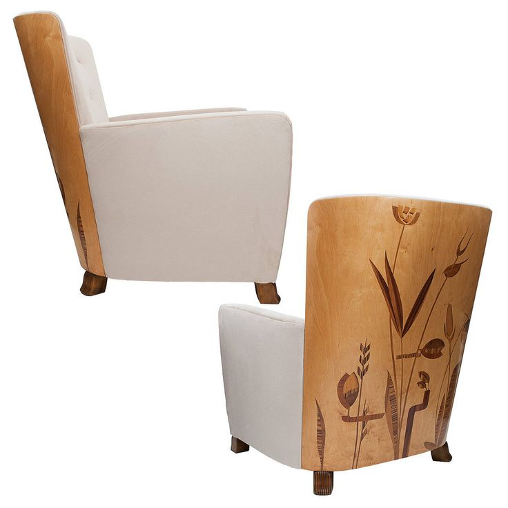 Important Pair of Swedish Art Deco Marquetry Lounge Chairs by Erik Chambert | From a unique collection of antique and modern armchairs at https://www.1stdibs.com/furniture/seating/armchairs/