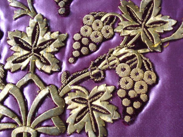 Antique Armenian pink silk pillow case hand embroidered with gold threads /sarma. ( what is that?) I looked it up---The term sarma, which was still used in the early twentieth century by saddlers in Tunis to distinguish between ordinary silver thread wound on silk thread and sarma, pure silver thread. The name, which reached the Maghreb via the Levantines, is supposedly of Greek-Byzantine origin (from syrma: metal thread used for lace and embroidery).