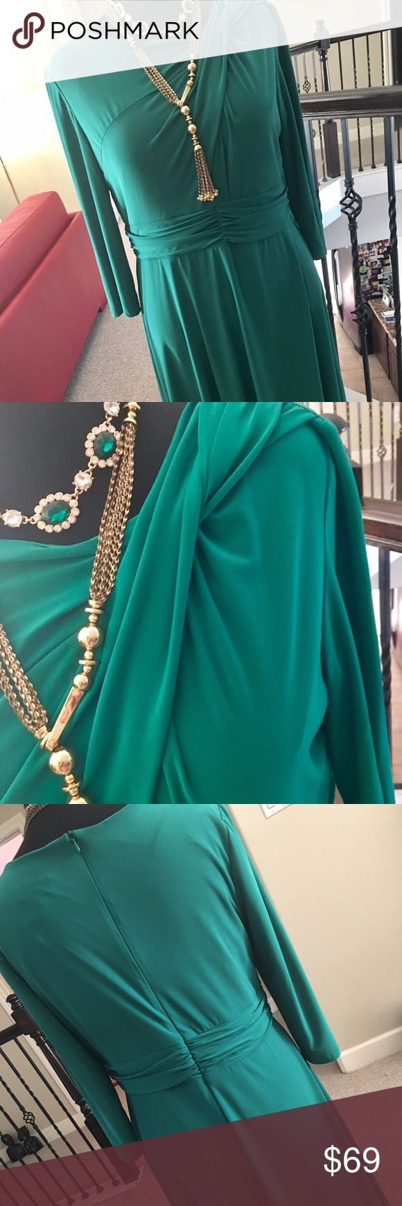 Jade green fab dress simply fabulous!!! Think green it will brighten your day! Zippered back with a cinched waist, details in the front, yes she is gorgeous! Serengeti Dresses