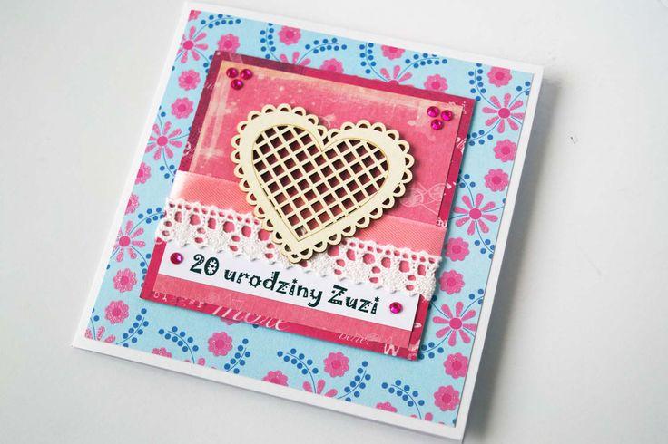 Przesłodka karteczka urodzinowa dla koleżanki. Była zachwycona! … jak dobrze jest, gdy znajomi wiedzą w jakim klimacie ma być wykonana kartka…  #serce #kartka #birthdaycard #papercard #papercrafts #craft #handmadecard #handmade #kartkanaslub #scrapbooking #scrapbookingcards #rekodzielo