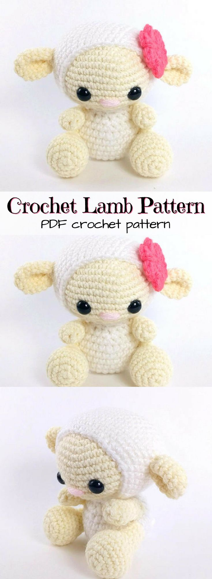 SO CUTE!!! I love this little lamb crochet pattern! Perfect for easter or spring babies! LOVE IT! #etsy #ad #amigurumi #stuffies #crochet #pattern #pdf