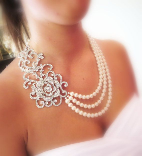 Bridal statement necklace, wedding jewelry, pearl necklace, wedding necklace, rhinestone necklace
