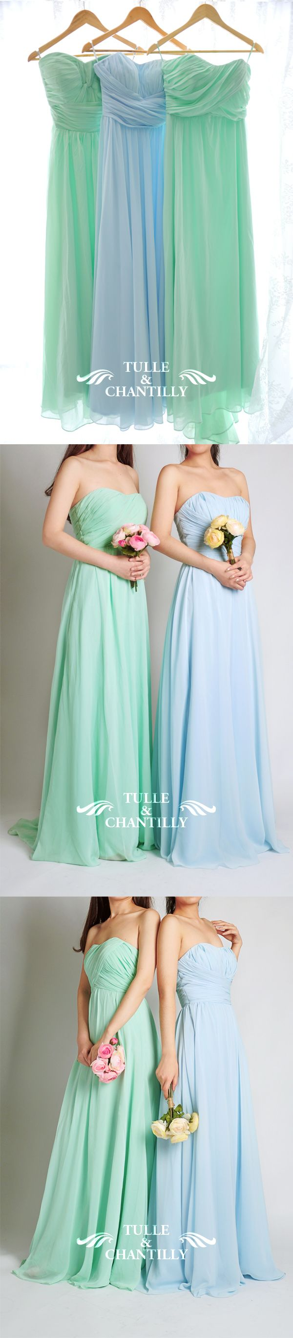 mint and pale sky blue wedding color ideas and mint and pale sky blue chiffon bridesmaid dresses long