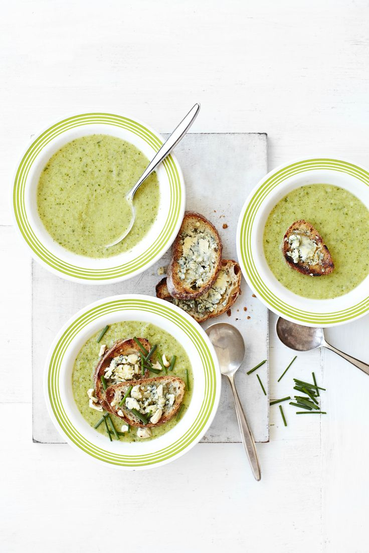 Broccoli soup with stilton toasts: This vibrant soup is the perfect antidote to the winter blues. Warming and comforting but still healthy, this is perfect for the colder months.