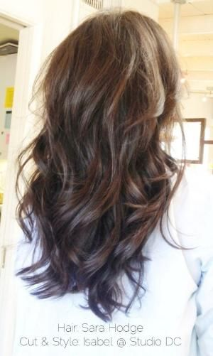 Long hair cut with layers.