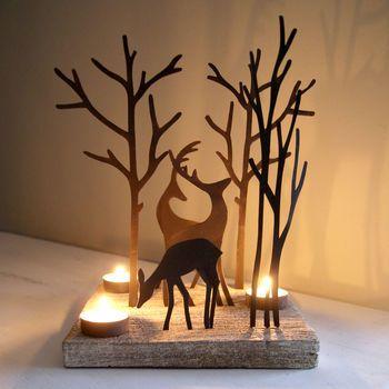Reindeer Woodland Tealight Holder