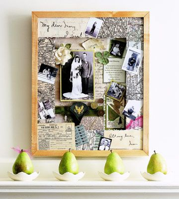A framed collection of old maps, photos, letters, coins, and documents recounts a lifetime spent together and a family's heritage. Don't hide such sentimental items; consider bringing them all together in a wall display for family and visitors to enjoy. Scan documents and photos, and print them on archival paper. Arrange the items in a collage using keepsakes, memorabilia, and ribbon to add interest. Finish the project with archival mounting materials and adhesives, and mount the collage in…