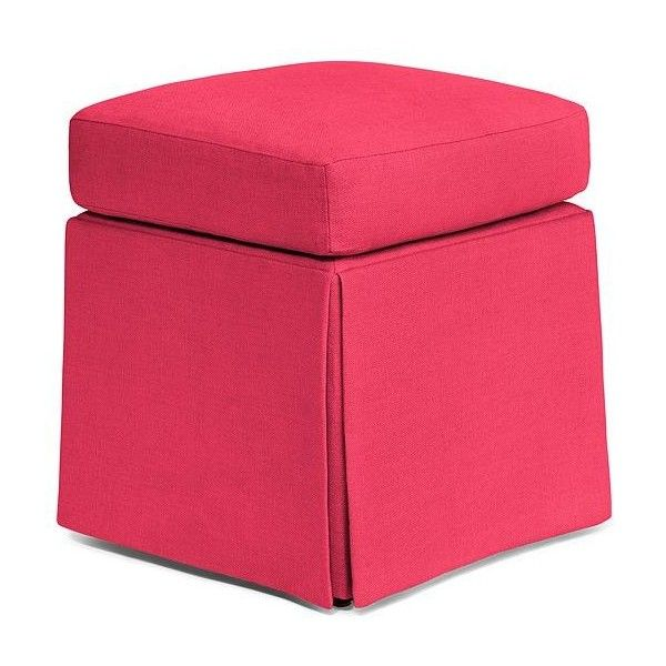 Kate Spade Russell Square Ottoman (1,475 CAD) ❤ liked on Polyvore featuring home, furniture, ottomans, square ottoman, hot pink furniture, linen furniture, kate spade and linen ottoman