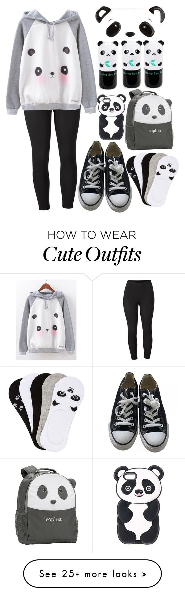 """""""Cute Panda Outfit"""" by clairitylim on Polyvore featuring Venus, Converse, Tony Moly, PBteen, Charlotte Russe and plus size clothing"""